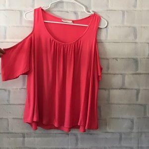Lush | hot pink cold shoulder top